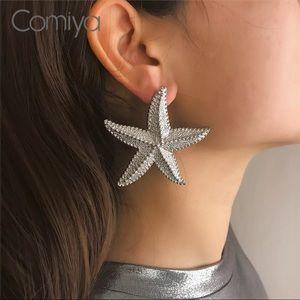 Silver Studded Sea Star Statement Earrings